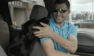 Man and Dog in Truck